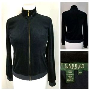 Ralph Lauren Petite PS Black Velour Zip-Up Jacket